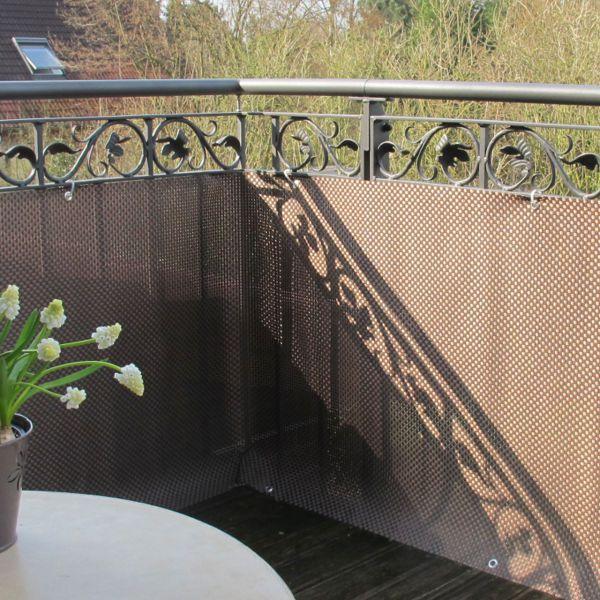 Balkonverkleidung Kunststoffgeflecht, mocca-anthrazit