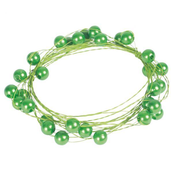 Basteldraht mit Perlen, grün