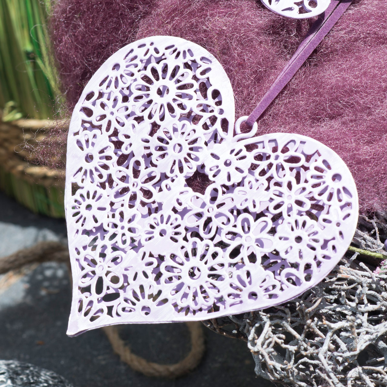 6tlg Anhänger SUMMER GARDEN weiß braun aus Metall Deko Herz Blume Schmetterling