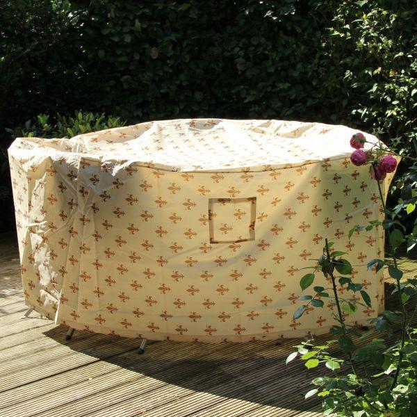 Gartenmöbel-Schutzhülle runde Tischgruppe, Lilien-Design beige