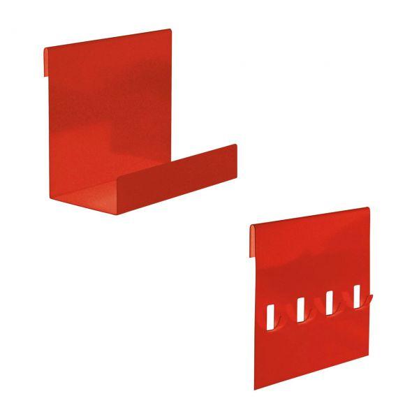 Hakenleiste & Ablage-Set für Metall Hochbeet, rot