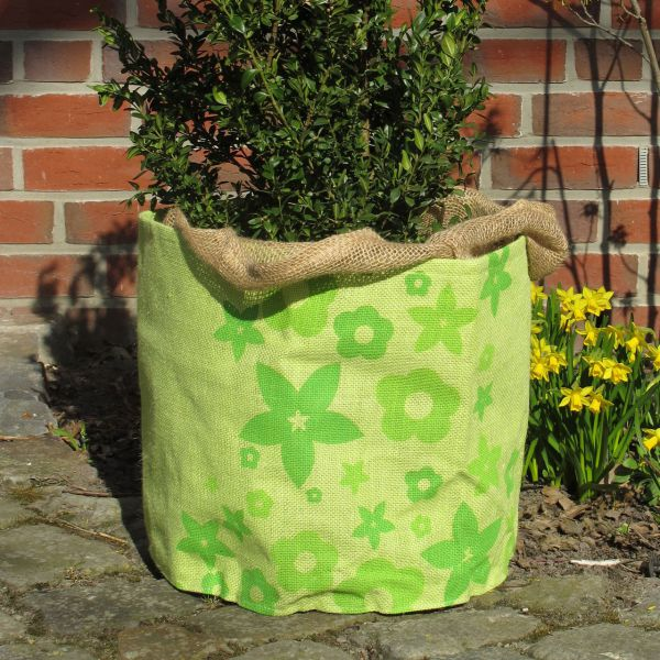 Jute-Übertopf Green Flower, hellgrün