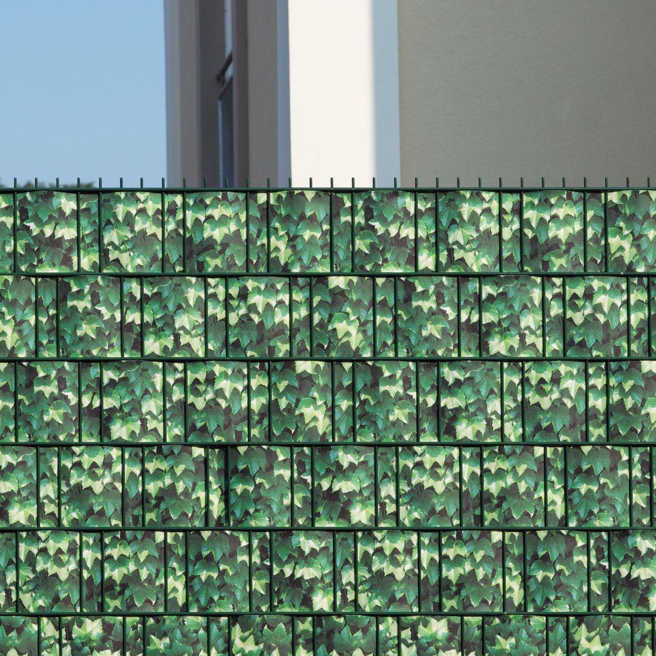 Sichtschutzstreifen bedruckt Motiv Weinblatt grün