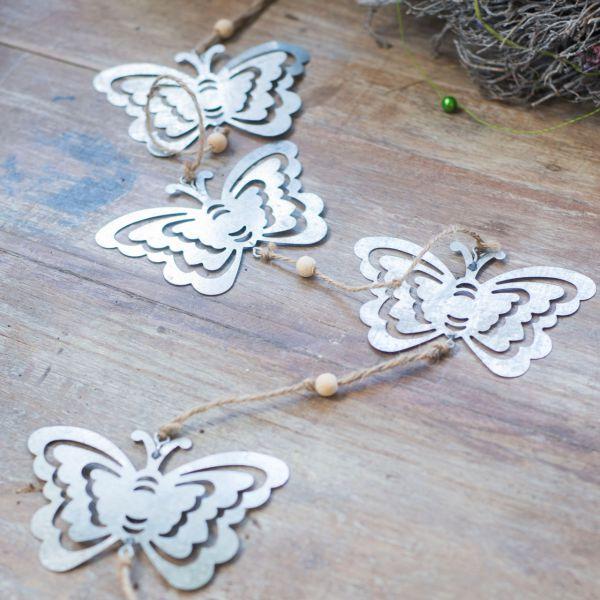 Metall-Girlande Schmetterlinge, silber