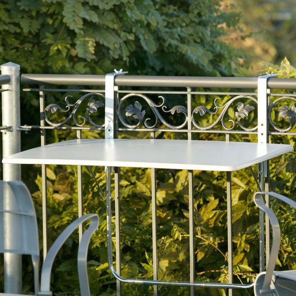 Balkonklapptisch, Werzalitplatte weiß, 60 x 80cm