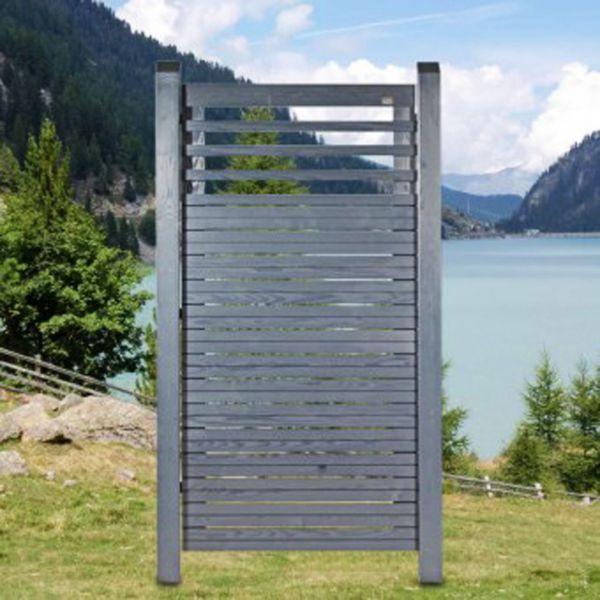 Sichtschutzzwand Hochgebirgs-Lärche, Cubus mit Lichtausschnitt, schiefer-grau
