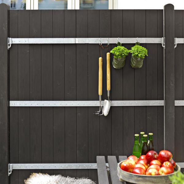 Sichtschutzwand Holz PORT mit Metallbeschlag, schwarz