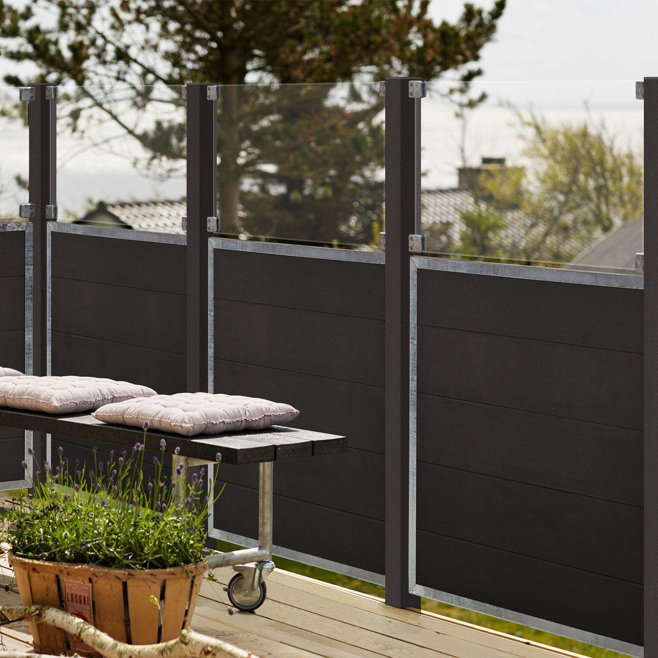 WPC Sichtschutz Zaun Futur Glas anthrazit
