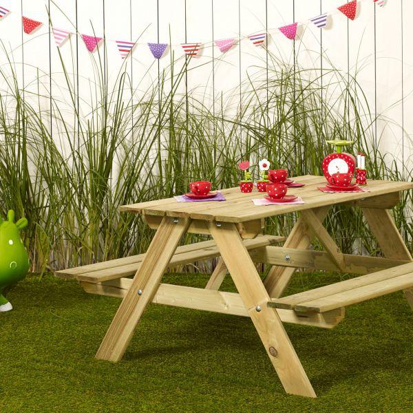 Kinder Picknicktisch mit Bänken SCANDIC Holz