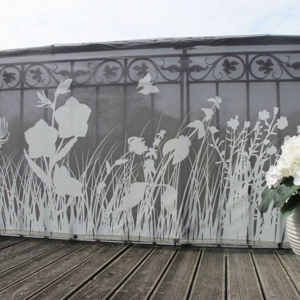 Balkonbespannung Gräser, stein, 90x300cm