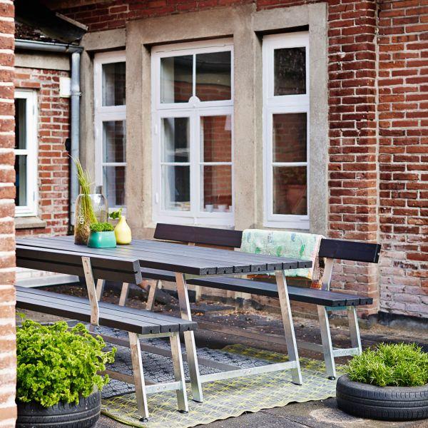Gartentisch & Bänke mit Lehnen ROYAL, Set 207cm