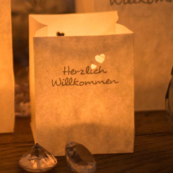 Lichtertüten Herzlich Willkommen mit Herzen, silber