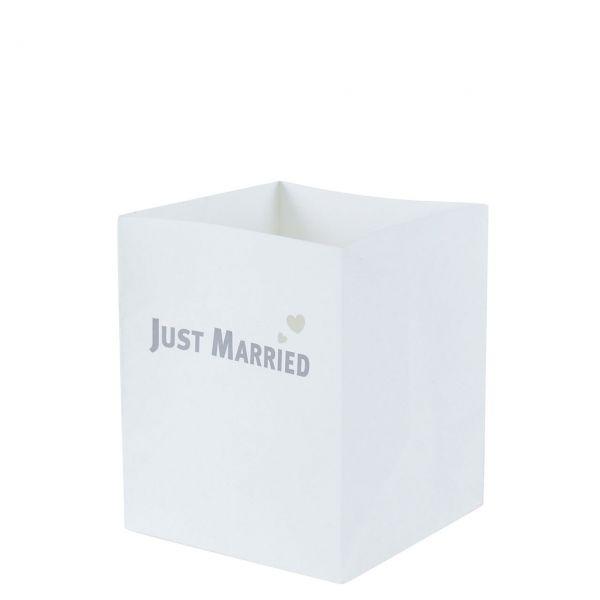 Lichtertüten Just Married mit Herzen, silber