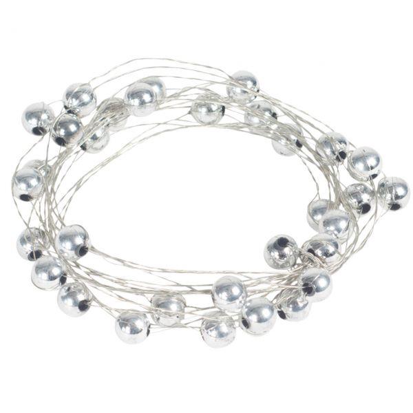 Basteldraht mit Perlen, silber