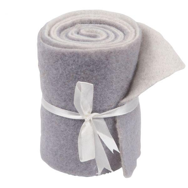Woll-Filzband extrabreit, zweifarbig weiß/grau