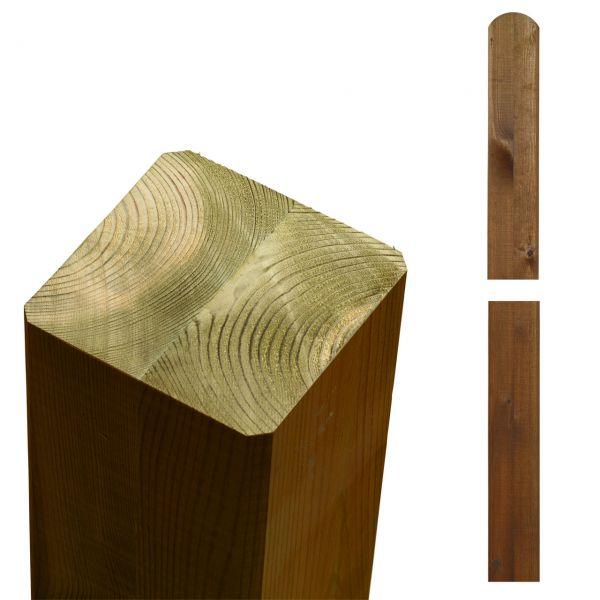 Premium Leimholzpfosten 9x9cm, Rundkopf teak